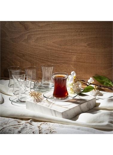 Lav Nez Çay Seti Takımı- Çay Bardağı - Çay Tabağı Seti 12 Prç. Renkli